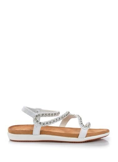 Vizon Ayakkabı Sandalet Beyaz